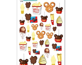 Disney Parks Snacks & Treats Stickers - Disney Planner Stickers