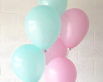 Pink and Mint Latex Balloons Pink Balloons Mint Balloons Shabby Chic Decor Mint Party Supplies Pink and Mint Party Decor Bridal Shower