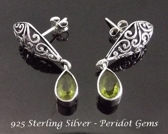 Stud Earrings: Sterling Silver Stud Earrings with Peridot Gemstones and Ornate Earring Body | Studs, Silver Earrings, Gemstone Earrings 118