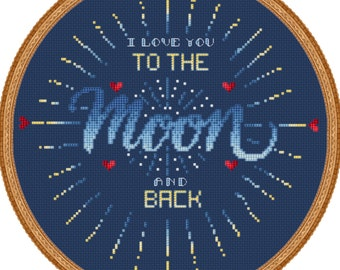 Moon Cross Stitch// Typography // Love You // Cross Stitch PDF DMC Chart // Cross Stitch Pattern // Instant Download // Cross Stitch PDF
