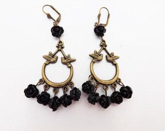 Doves and Roses Frida Kahlo Inspired Earrings