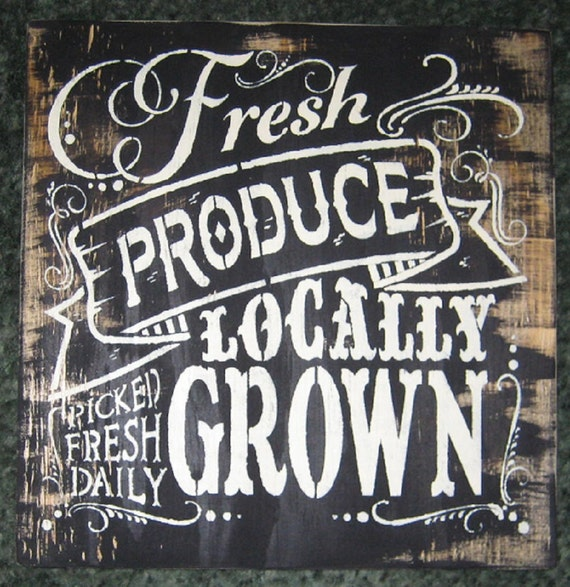 Fresh Produce locally grown......Weathered plywood/ wall