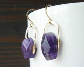 Amethyst Nugget Gold Filled Earrings