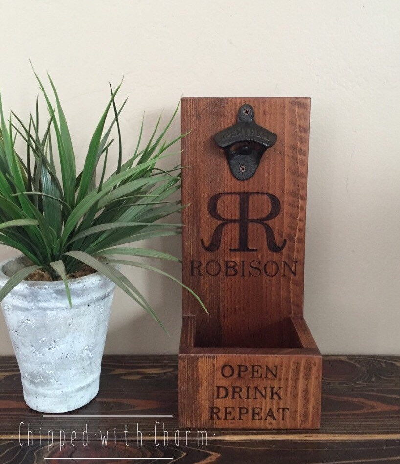 Personalized Wall Mount Bottle Opener And Cap Catcher