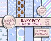 "50% OFF SALE Baby Boy TEXTURED Digital Paper Pack for Scrapbooking, ""Baby Boy"" blue, baby stork paper,polka dot, baby feet, high resolution,"