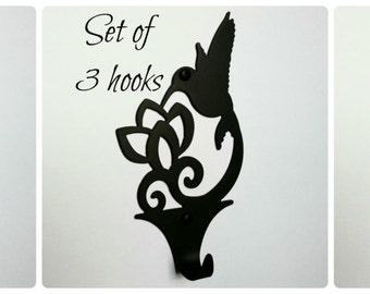 Set of 3 Hummingbird Wall Hooks, Decorative & rustic wall hooks, Robe hook, towel hook, Key hook, Mug hook, Coat hook, Hummingbird décor