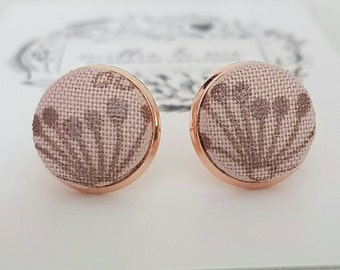 Rose gold and dusty pink and metallic bronze flower fabric stud earrings