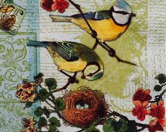 """3 Decoupage Napkin -Bird & Family Bird's Nest- 13"""" x 13"""""""