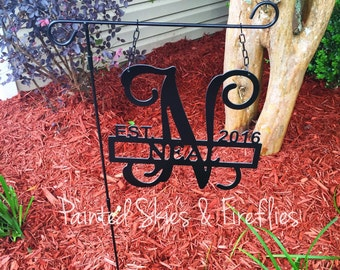 Garden Flag / Garden Sign / Yard Sign with Initial and Last Name / Unique Gift / Welcome / Fathers Day / Teacher / Wedding / Engagement Gift