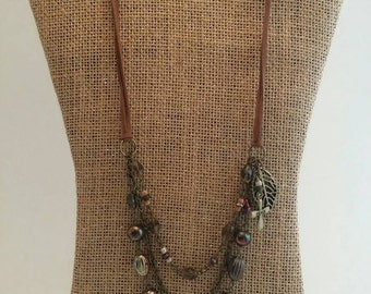 Autumn Winds Beaded Necklace. Statement Necklace. Suede Cord Necklace. Leaf Necklace.