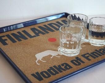 Finlandia vodka-drinks tray. Made in Finland. 26 cm x 26 cm.