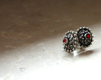 Red Stone Silver earring