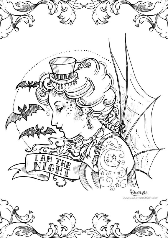 gothic coloring books for adults adult colouring page steampunk gothic victorian vampire