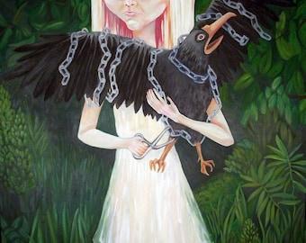 Albino Girl with Blackbird