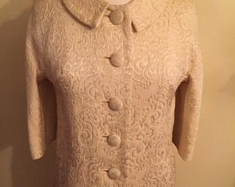 Cream Brocade Jacket, 1960s, Sarett Toronto, Elegant, Lined, Adorable