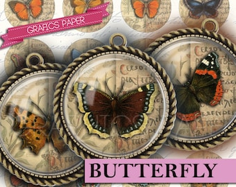 "Butterfly antiques - Butterflies - digital collage sheet - td33 - 1.5"", 1.25"", 30mm, 1 inch - circle Images Instant Download Pendants cameo"