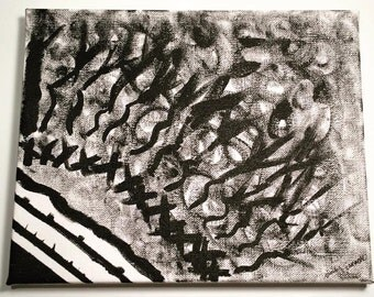 """HAUNTED FOREST by Emily Janacek; Black and White, Original Abstract Painting on an 8""""x10"""" Back-Stapled Canvas"""