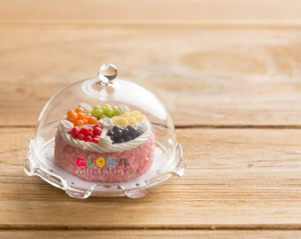 Dollhouse Miniatures Dome Cake Cover + Round Fruity Fancy Cake