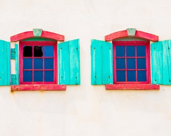 Aqua and Red Window Duo - FINE ART CANVAS