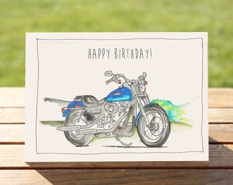 """Motorcycle Birthday Card - Superglide motorcycle   A6 - 6"""" x 4"""" / 103mm x 147mm    Motorbike Gift Card, Motorcycle Gift Card"""
