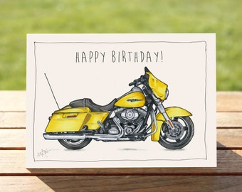 """Motorcycle Birthday Card Yellow Street Glide   A6 - 6"""" x 4""""  / 103mm x 147mm    Motorbike Birthday Card"""