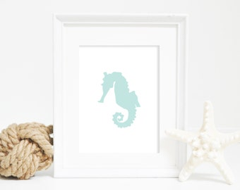 Seahorse Wall Decor, Digital Print, Instant Download, Seahorse Wall Art, Mint Print, Beach House Decor, Turquoise Print, Printable Wall Art