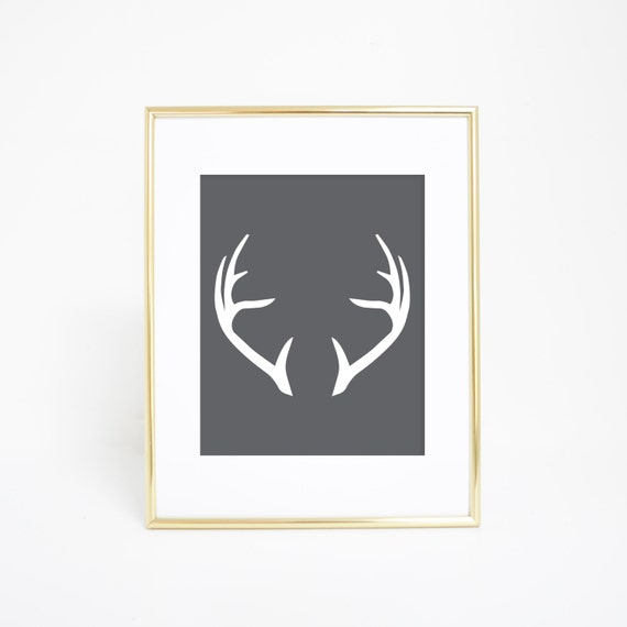 Art Prints for Him, Gray Deer Antlers Print, Gray Deer Antlers, Wall Art, Printable Antlers Art, Home Deer Decor, Antlers Decor, Deer Art