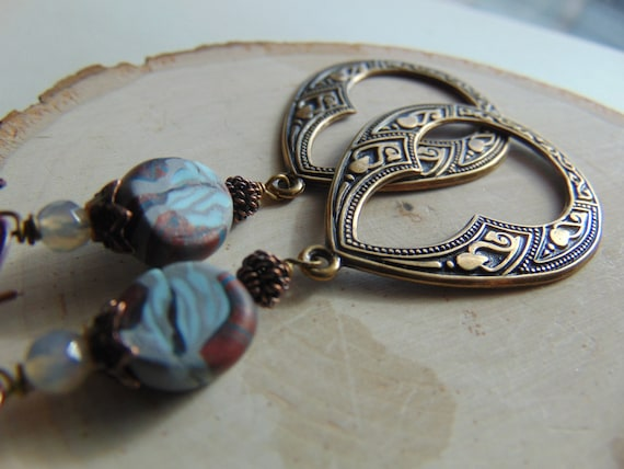 Brass Art Deco And Polymer Clay Long Earrings