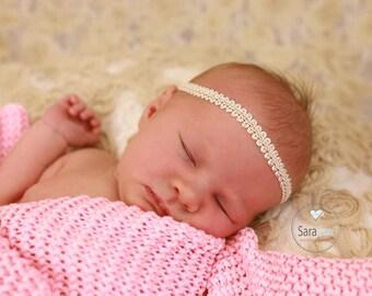 Vanilla Scroll Braid Newborn Headband Photo Prop