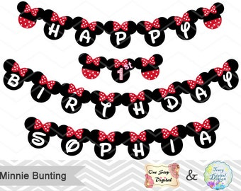 Instant Download Minnie Bunting, Printable Minnie Banner, Red and Black Minnie Birthday Party Banner, Printable Minnie Party Banner, 00023