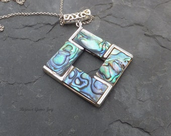 Sea Treasure Pendant, Abalone Shell Pendant with Silver Plated Bezel and Bail, Sterling Silver Chain