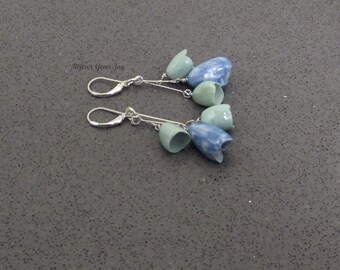 Sweet Spring Earrings, Ceramic Flower Pods, Sterling Silver