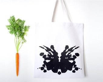 Rorschach Test (3+4) Tote Bag with two-sided design, canvas grocery bag