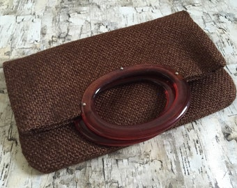 Vintage 1970's purse. Tortishell handle tweed purse. Textured purse. 70's handbag.