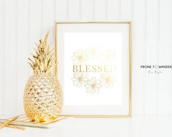 BLESSED in floral in gold foil - GF13