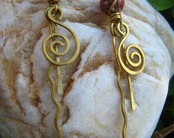 Long dangling brass earrings