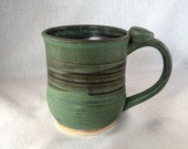 Large stoneware pottery mug, with thumb rest- green and black glaze (12 oz)