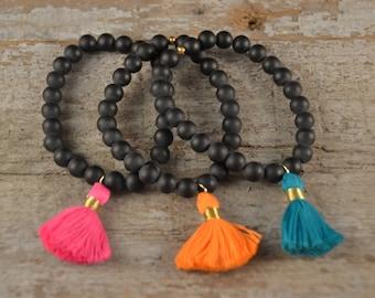 Agate {{Zena}} Tassel Bracelet