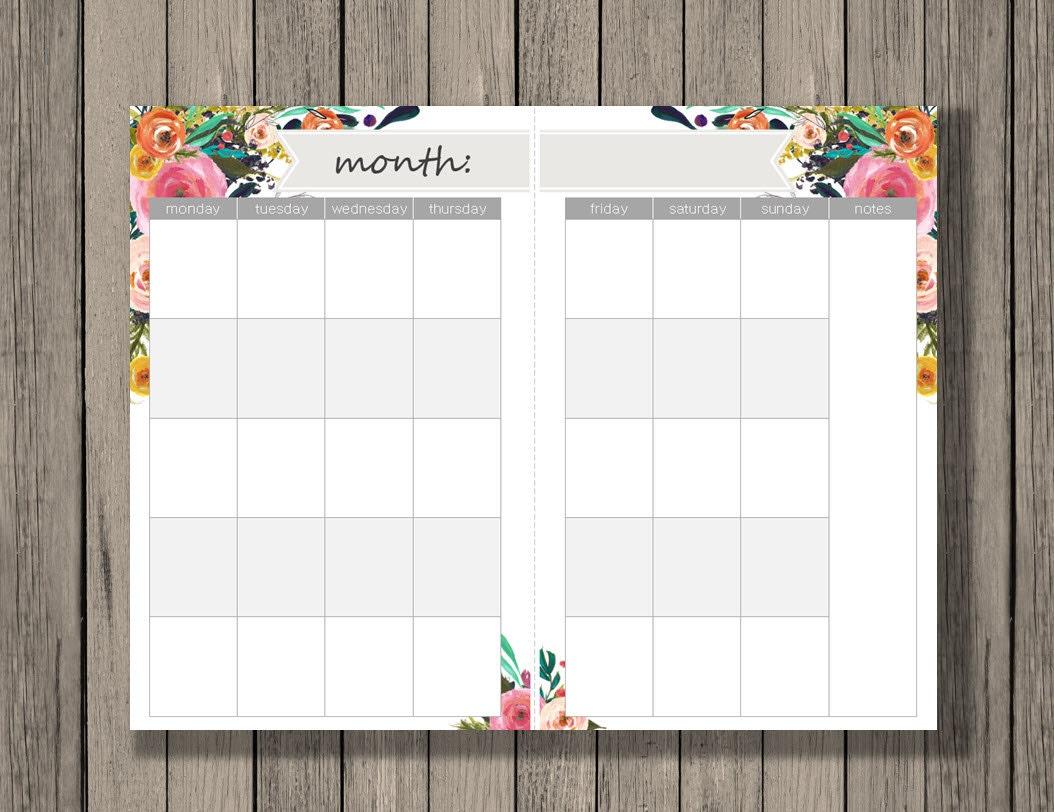 Blank Calendar Half Page : Monthly calendar printable a size