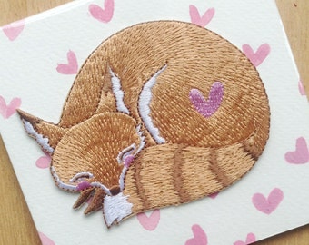 Embroidered Iron-on Patch Sleeping Fox