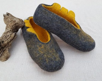 Felted warm wool slippers
