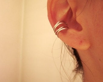 Ear cuff , double sterling silver ear ring 950