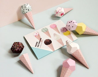 Paper Ice Creams - 3D Paper Craft Kit, Paper Toys, Ice Cream Party decor, Paper Sculpture templates,  Party Photobooth prop