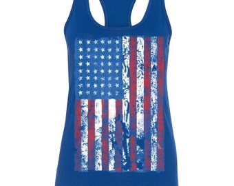 Distressed American Flag Patriotic USA Women's Triblend Racerback Tank Top