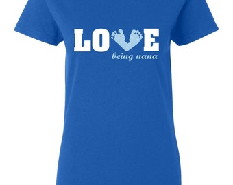 Love being a Nana Blue Baby Boy Feet Long Womens Short Sleeve Tee T Shirt Top