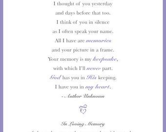 In Loving Memory Poem/Sign For Wedding Day