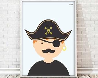 kids art room, kids art decor, pirate, poster pirate, illustration, baby print, baby room, wall art, nursery print,nursery decor,baby shower