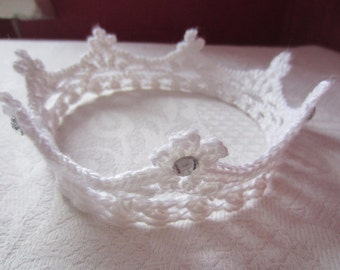 Crown, strass, Knit Headband, Hair Accessory, Knitted crown, decor, For children, baby gift, newborn photo session, white, ribbon, Headband