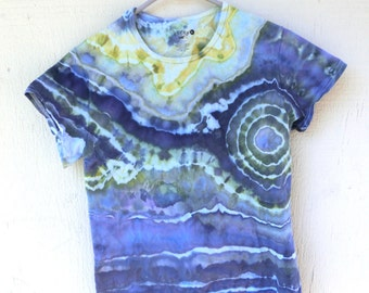 H22 - Adult XL - XL - Tie-dye t-shirt Blue yellow green lavender lavender layered ice-dye tie-dye t-shirt size extra large hippie boho swag