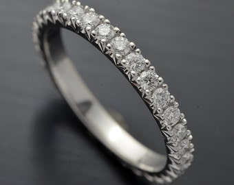 Platinum Wedding Band Eternity with French Cut Micro Pave.  .75ct TW